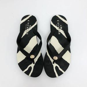 Coach 'Alyssa' Black & White Rubber Flip Flops